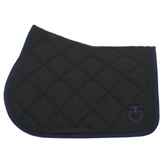 Jersey Quilted Rhombi Jumping Saddle Pad - Black /Royal Blue