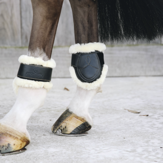 Kentucky Sheepskin Leather Fetlock Boots Velcro Bakbeinsbelegg - Sort