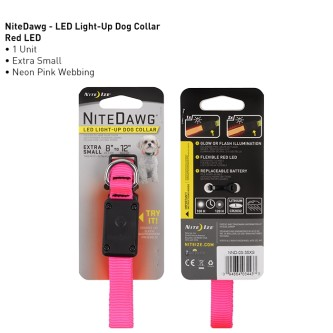 NIte Dawg Neon LED Halsbånd Rosa XS