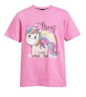 Wahlsten Bella T-skjorte for Barn - Rosa Enhjørning